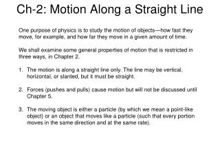 Ch-2: Motion Along a Straight Line