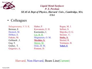 Liquid Metal Surfaces P. S. Pershan SEAS & Dept of Physics, Harvard  Univ., Cambridge, MA, USA