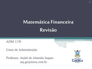 Matem tica Financeira Revis o