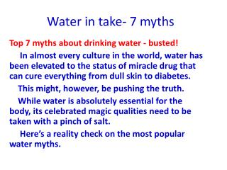 Water in take- 7 myths