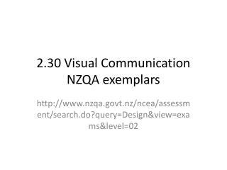 2.30 Visual Communication NZQA exemplars