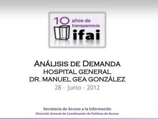 Análisis de  Demanda HOSPITAL  GENERAL DR . MANUEL GEA  GONZÁLEZ