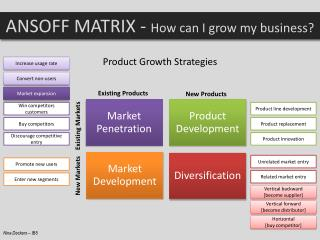 ANSOFF MATRIX -  How  can I grow my business ?