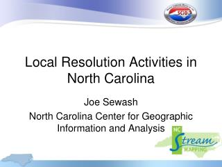 Local Resolution Activities in North Carolina