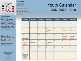 Youth Calendar JANUARY  2010