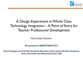 Presented at MANTHAN 2012
