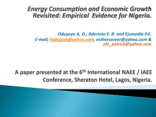Energy Consumption and Economic Growth Revisited: Empirical  Evidence for Nigeria.