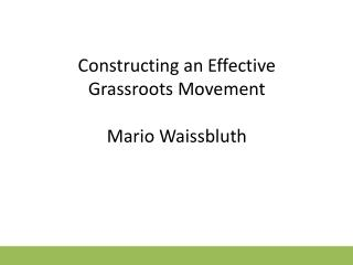 Constructing an Effective Grassroots Movement Mario  Waissbluth