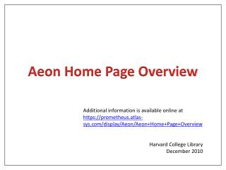 Aeon Home Page Overview