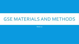 GSE Materials and Methods