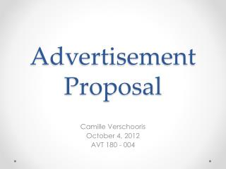 Advertisement Proposal