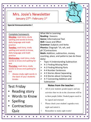 Mrs. Josie's Newsletter January  27 th - February 1 st