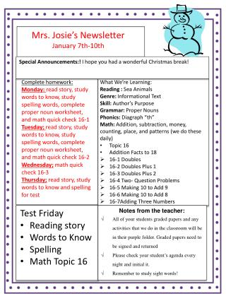 Mrs. Josie's Newsletter January 7 th-10th