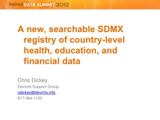 A new, searchable SDMX registry of country-level health, education, and financial  data