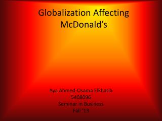 Globalization Affecting McDonald's