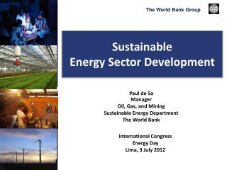 Sustainable  Energy Sector Development