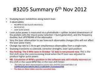 #3205 Summary 6 th  Nov 2012