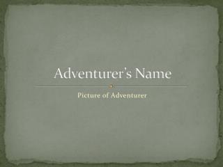 Adventurer's Name