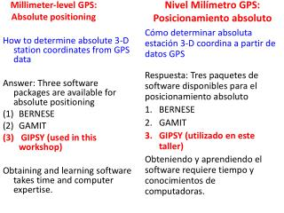 Millimeter-level GPS: Absolute positioning
