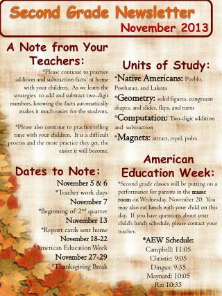 Second Grade Newsletter November 2013