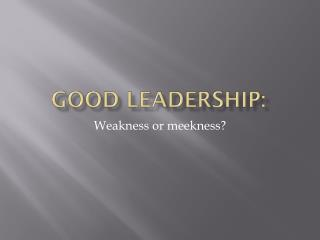 Good Leadership: