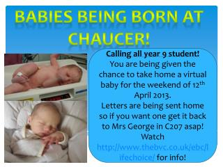 Babies being born at Chaucer!