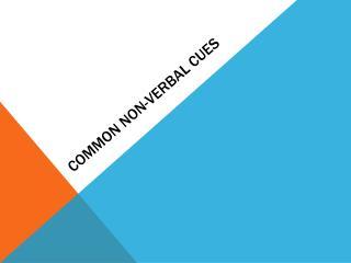 Common Non-Verbal Cues