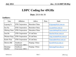 LDPC Coding for 45GHz