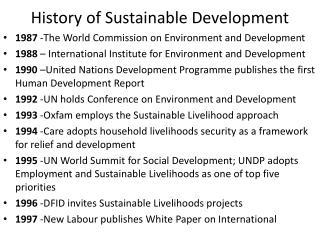 History of Sustainable Development