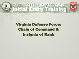 Virginia  Defense Force:  Chain of Command & Insignia of Rank