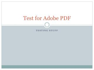 Test for Adobe PDF