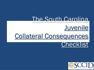 The South Carolina  Juvenile Collateral Consequences  Checklist