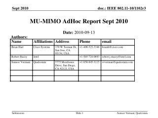 MU-MIMO AdHoc Report Sept 2010
