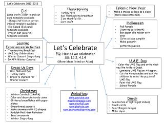 Let's Celebrate EQ: How do we celebrate? SS: 1.1.2, 4.1.4 (More Ideas listed on Atlas)