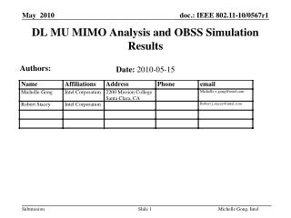DL MU MIMO Analysis and OBSS Simulation Results