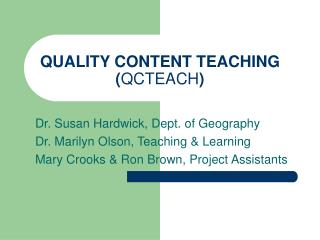 QUALITY CONTENT TEACHING  QCTEACH