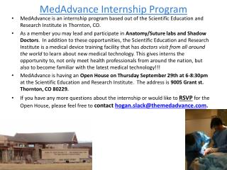 MedAdvance  Internship Program
