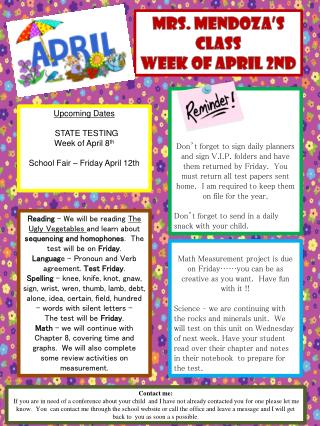 Mrs. Mendoza's Class Week of April 2nd