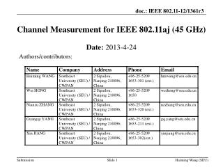 Channel Measurement for IEEE 802.11aj (45 GHz)