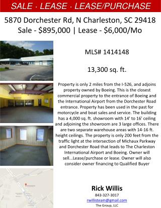 5870 Dorchester Rd,  N Charleston, SC 29418 Sale - $895,000 | Lease - $6,000/Mo