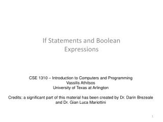 If Statements and Boolean Expressions