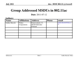Group Addressed MSDUs in 802.11ac