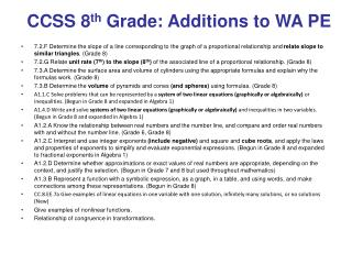 CCSS 8 th  Grade: Additions to WA PE