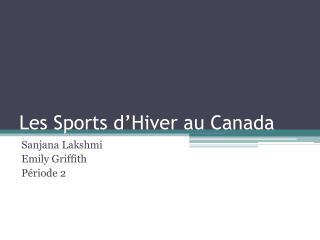 Les Sports d�Hiver au Canada