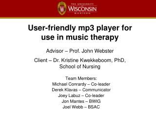 User-friendly mp3 player for use in music therapy