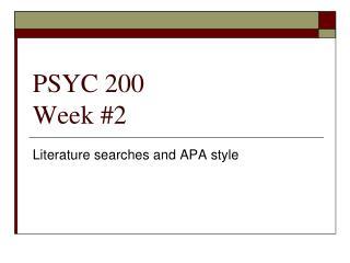 PSYC 200 Week #2