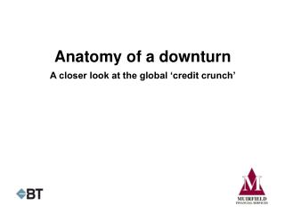 Anatomy of a downturn A closer look at the global 'credit crunch'