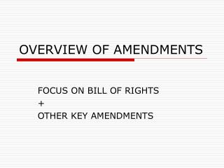 OVERVIEW OF AMENDMENTS