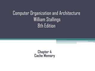 Computer Organization and Architecture  William Stallings  8th Edition