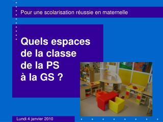 Quels espaces de la classe  de la PS  à la GS ?